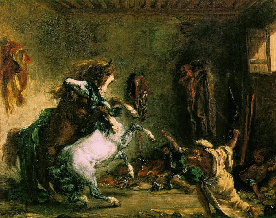 Chevaux arabes se battant à l'écurie - Delacroix