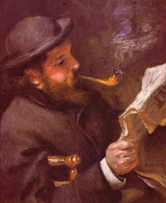 Claude Monet lisant - Renoir