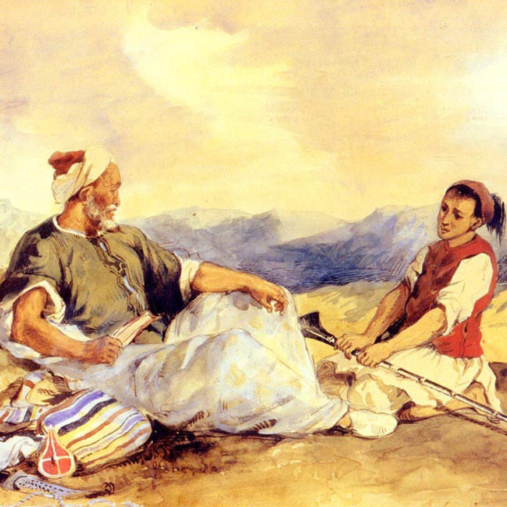 Deux marocains assis dans la campagne - Delacroix