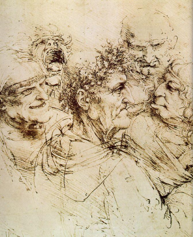 Etude de têtes grotesques - De Vinci