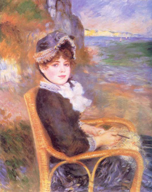 Femme assise au bord de la mer - Renoir
