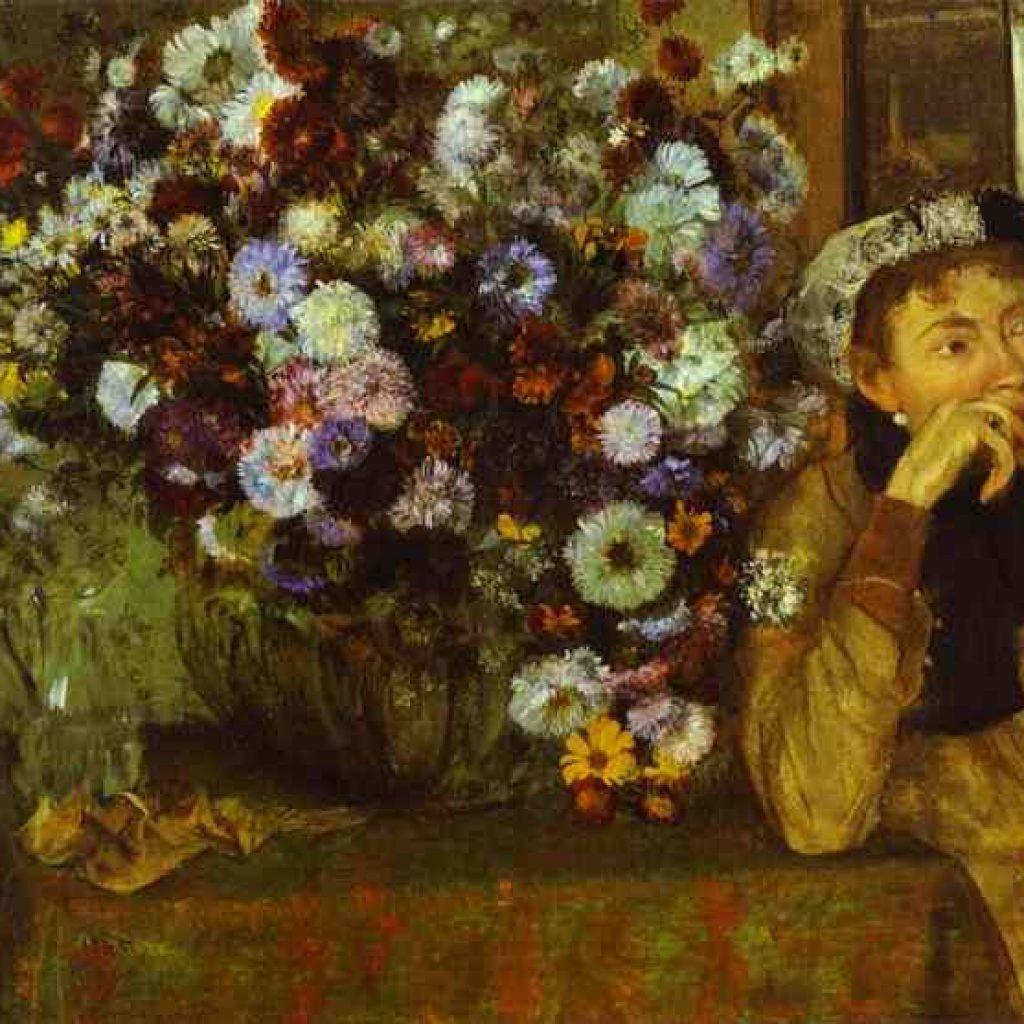 Femme avec chrysanthèmes - Degas