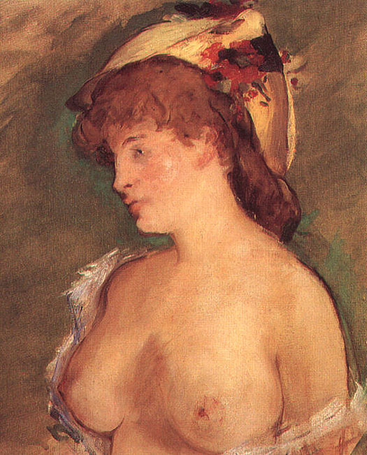 Femme blonde avec seins nus - Manet