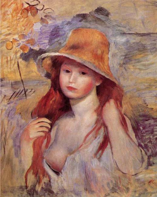 Fille au chapeau de paille - Renoir