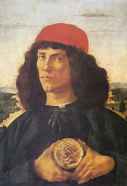 Homme tenant une médaille - Botticelli
