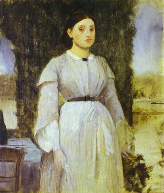 Jeune femme à coté d'une table - Degas
