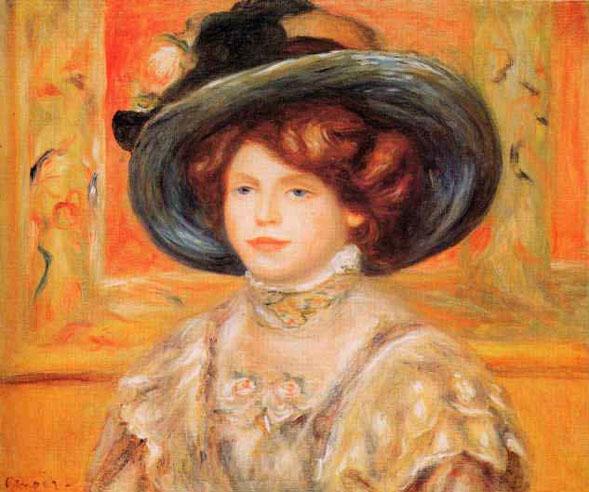 Jeune femme au chapeau bleu - Renoir