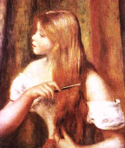 Jeune fille se coiffant les cheveux - Renoir