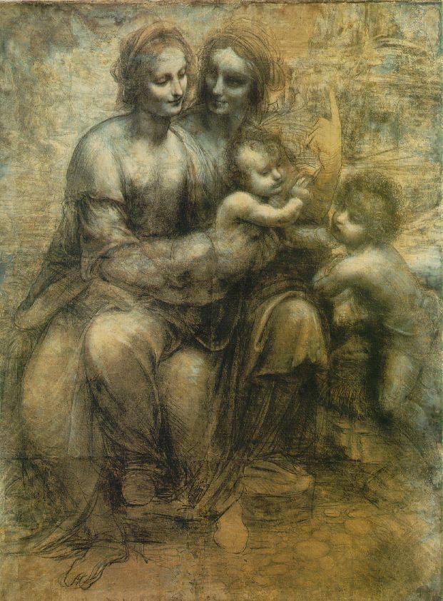 La Vierge et son enfant avec St Anne et le jeune St Jean-Baptiste - De Vinci