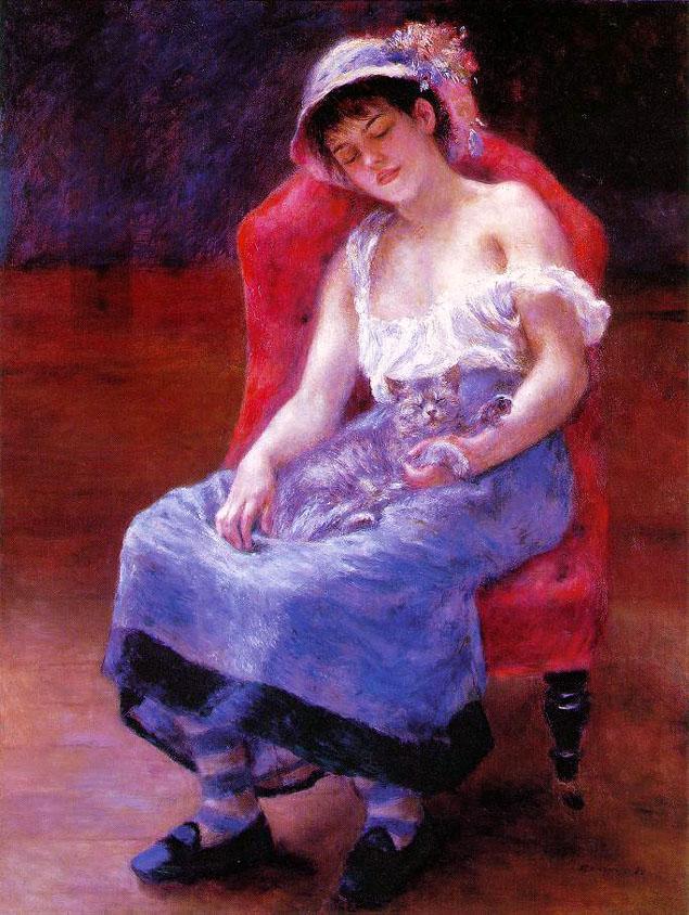 La jeune fille au chat - Renoir