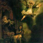 L'archange quittant la famille de Tobias - Rembrandt