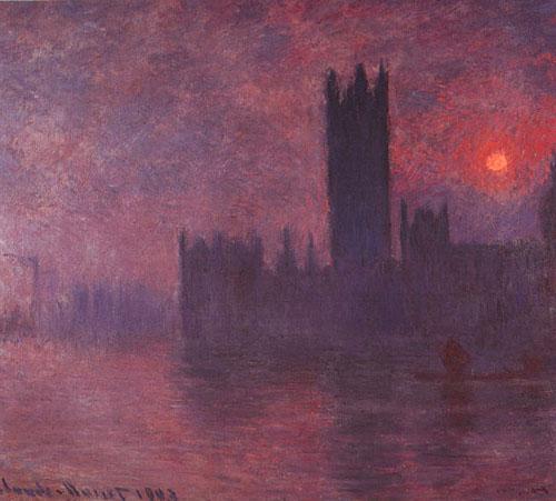 Maisons du parlement au coucher du soleil - Monet