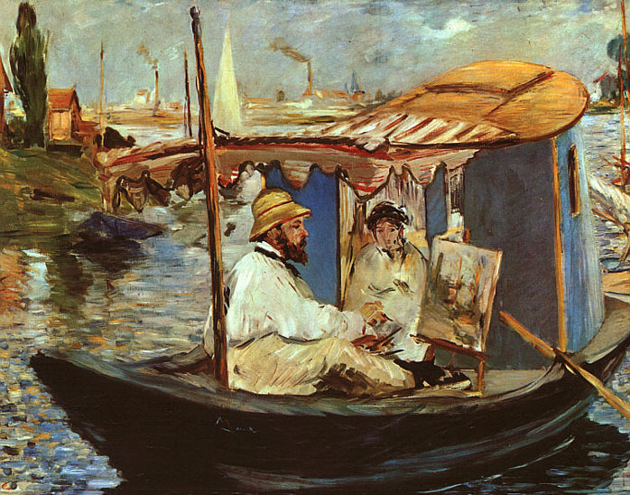 Monet peignant sur son bateau - Manet