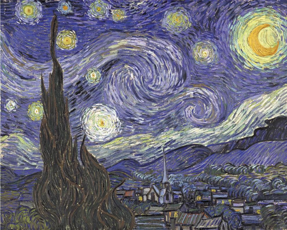 Nuit étoilée (cyprès et village) - Van Gogh