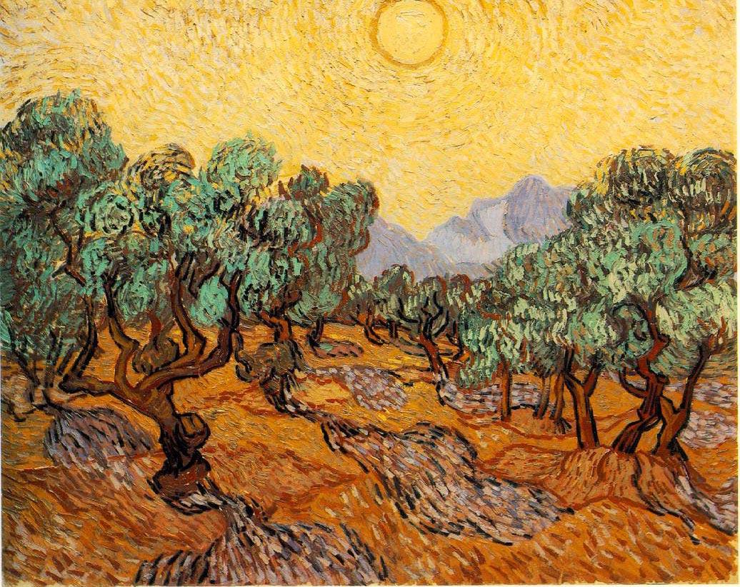 Oliviers avec ciel jaune et soleil - Van Gogh