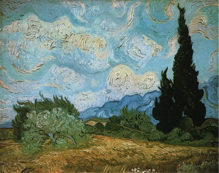 Paysage avec cyprès et arbres en fleurs - Van Gogh