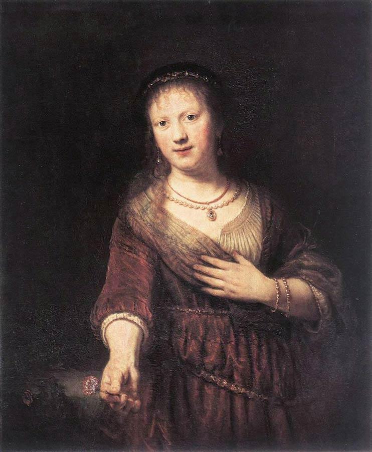 Portrait de Saskia avec une fleur - Rembrandt