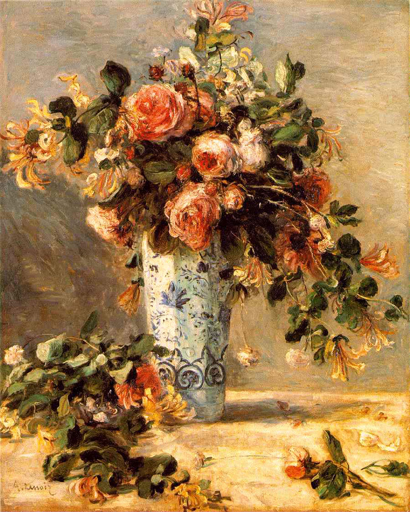 Roses et jasmin dans le vase de Delft - Renoir
