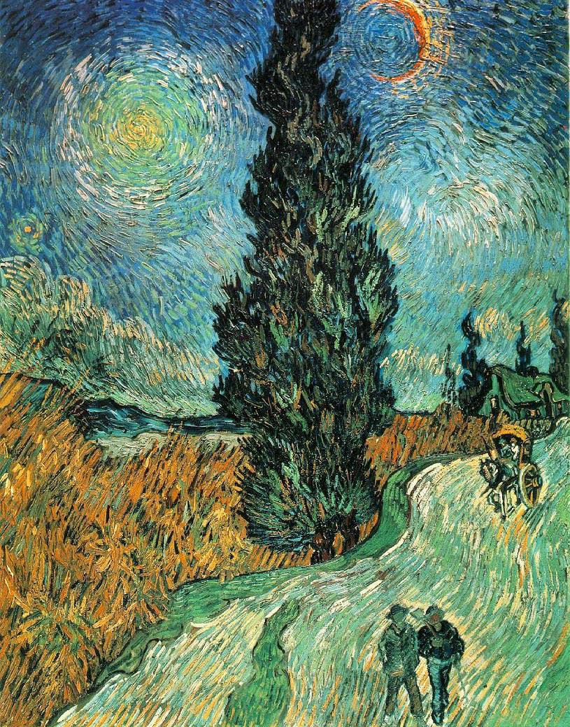 Route avec cyprès et ciel étoile - Van Gogh