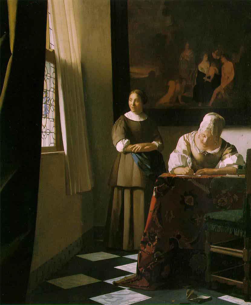 Une dame écrivant une lettre et sa servante - Vermeer