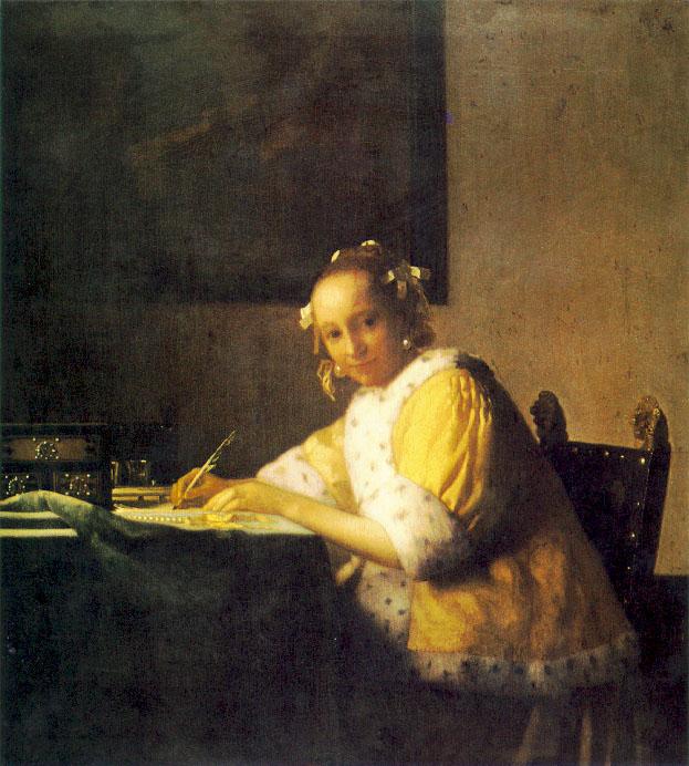 Une femme écrivant une lettre - Vermeer