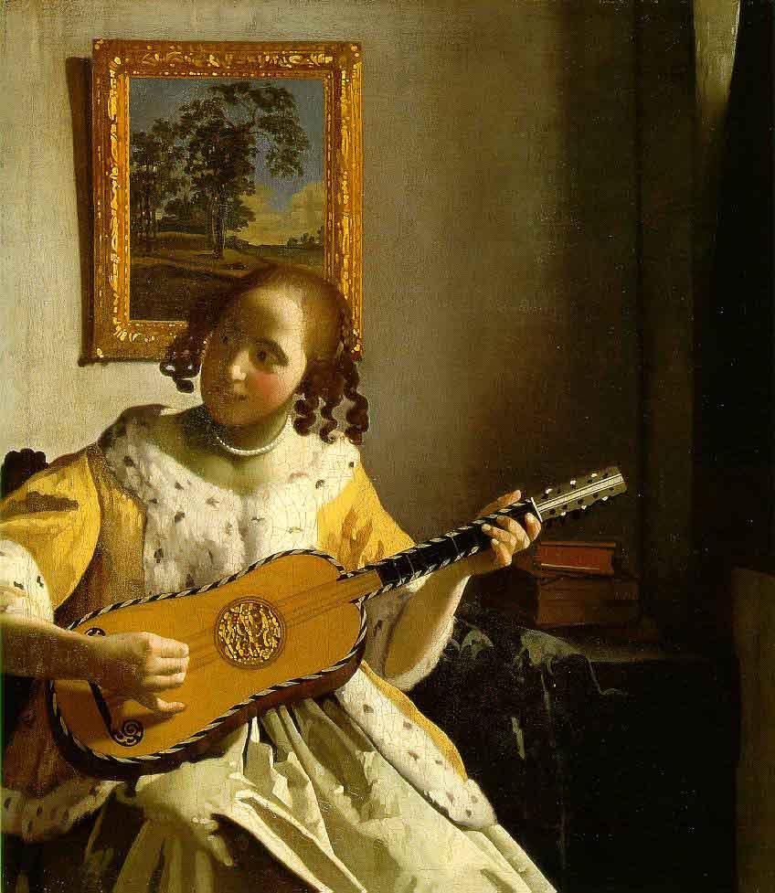 Une femme jouant de la guitare - Vermeer