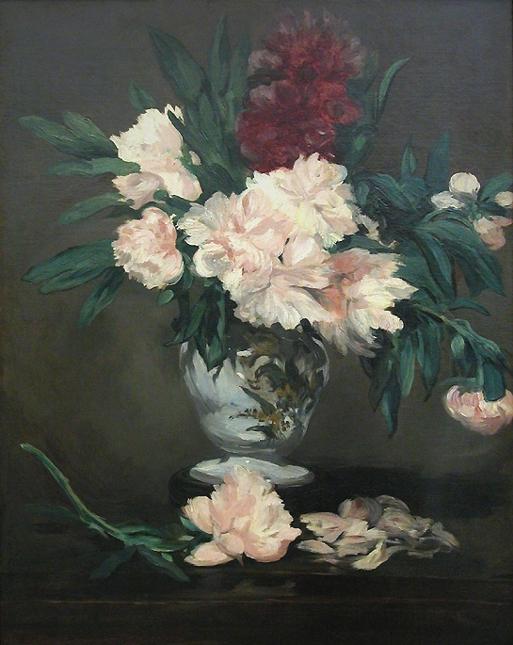 Vase de pivoines sur piédouche - Manet